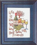 Good Wine Good Friends - (Cross Stitch)