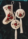 Poinsettia & Noel Ornaments Ribbon Embroidery - (Cross Stitch)