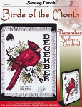 Birds of the Month - December Northern Cardinal - (Cross Stitch)