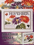 Flowers of the Month November Zinnia - (Cross Stitch)