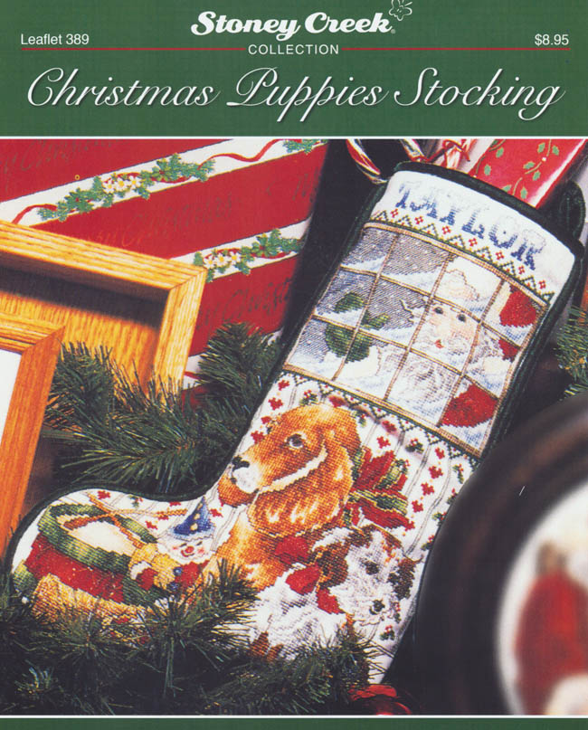 christmas puppies stocking counted cross stitch pattern - Cross Stitch Christmas Stockings