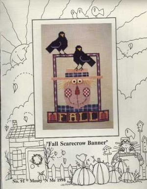 Fall Scarecrow Banner - (Cross Stitch)