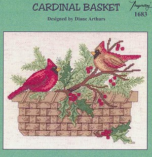 Cardinal Basket - (Cross Stitch)