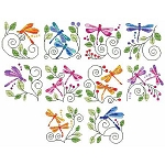 Jacobean Dragonflies - (Cross Stitch)