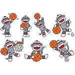 Basketball Sock Monkeys - (Cross Stitch)