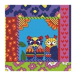Crazy Patch Owl 11 - (Cross Stitch)