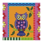 Crazy Patch Owl 10 - (Cross Stitch)