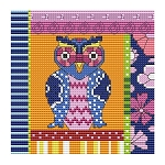 Crazy Patch Owl 09 - (Cross Stitch)