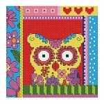 Crazy Patch Owl 05 - (Cross Stitch)