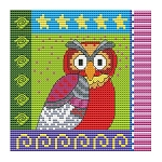 Crazy Patch Owl 03 - (Cross Stitch)