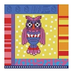 Crazy Patch Owl 02 - (Cross Stitch)