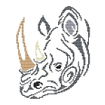 Tribal Rhino - (Cross Stitch)