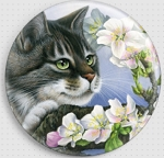 Apple Blossom Cat Needle Nanny By Irina Garmashova-Cawton Gecko Rouge Needle Minder