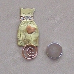 Cat Needle Nanny Handcrafted Metal Needle Minder by Puffin & Company