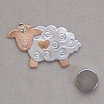 Bo-Peep Sheep Needle Nanny Handcrafted Metal Needle Minder by Puffin & Company
