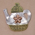 Teapot Needle Nanny Handcrafted Metal Needle Minder by Puffin & Company