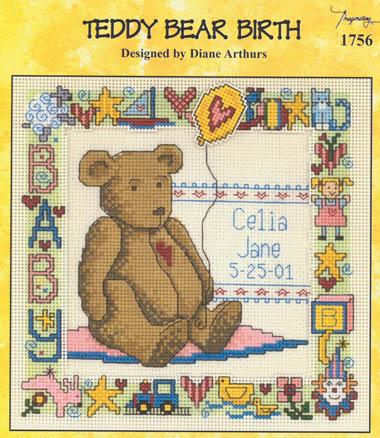 Teddy Bear Birth Counted Cross Stitch Pattern
