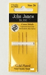 Size 26 Gold Plated Cross Stitch Needles 3 Pack JG19826 - (Cross Stitch)
