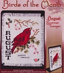 Birds of the Month- August Summer Tanager - (Cross Stitch)