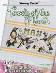 Towels of the Month MAY Hummingbirds, Butterflies - (Cross Stitch)