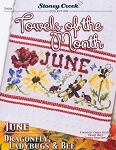 Towels of the Month: June Dragonfly, Ladybugs Bee - (Cross Stitch)
