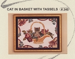 Cat in Basket with Tassels - (Cross Stitch)