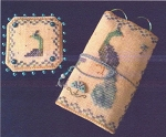Prissy Peacock Needle Roll and Pin Keep Kit - (Cross Stitch)