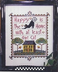 Happy is the Home with at Least One Cat - (Cross Stitch)