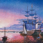 Boston Harbor at Sunset - (Cross Stitch)
