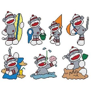 Beach Sock Monkey Combo - (Cross Stitch)