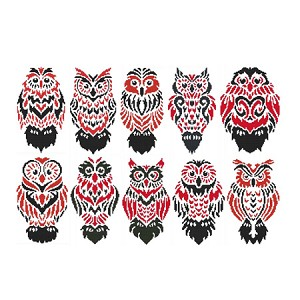 Tribal Owls Collection - (Cross Stitch)
