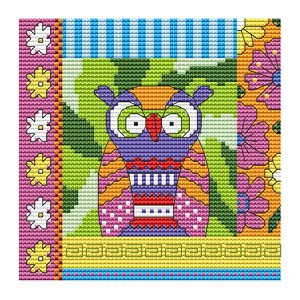 Crazy Patch Owl 07 - (Cross Stitch)