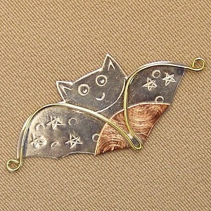 Halloween Bat Needle Nanny Handcrafted Metal Needle Minder by Puffin & Company