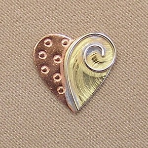 Heart Mini Needle Nanny Handcrafted Metal Needle Minder by Puffin & Company