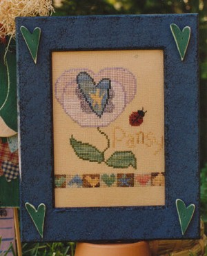 Pansy n' Hearts - (Cross Stitch)