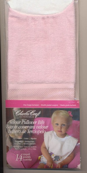 Pink Velour Toddler Pullover Bib 14ct - (Cross Stitch)