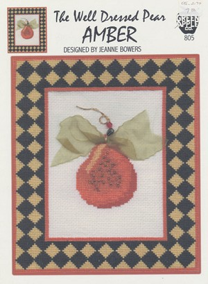 The Well Dressed Pear- Amber - (Cross Stitch)