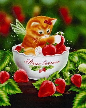 Strawberry Kitten - (Cross Stitch)