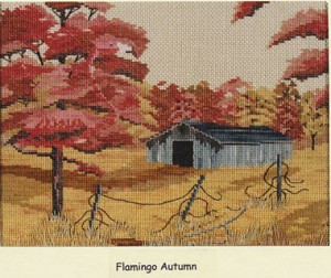 Flamingo Autumn - (Cross Stitch)