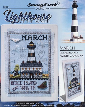 Lighthouse of the Month March Bodie Island NC - (Cross Stitch)