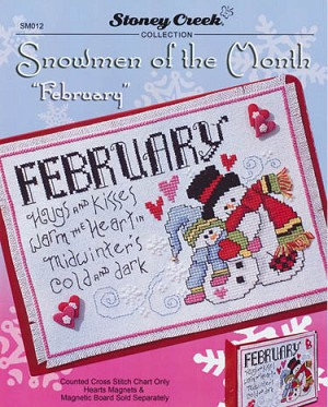 "Snowmen of the Month ""February"" - (Cross Stitch)"