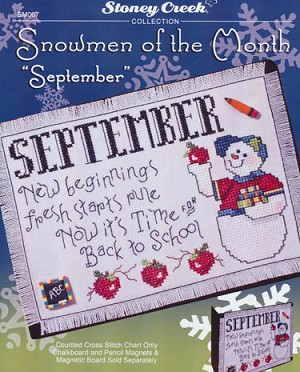 "Snowmen of the Month ""September"" - (Cross Stitch)"