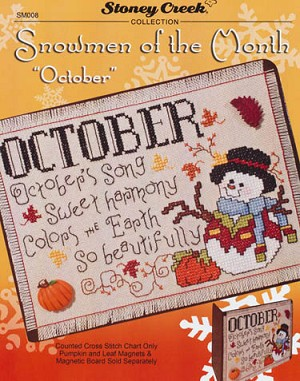 "Snowmen of the Month ""October"" - (Cross Stitch)"