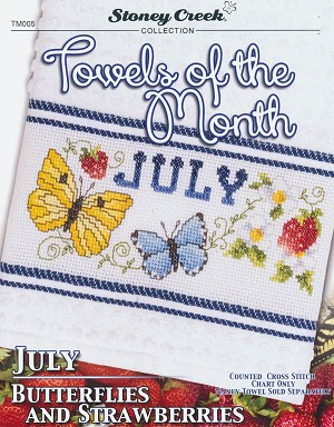 Towels of the Month: July Butterflies/Strawberries - (Cross Stitch)