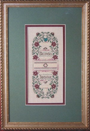 December Turquoise and Poinsettia - (Cross Stitch)