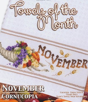 Towels of the Month - November Cornucopia - (Cross Stitch)