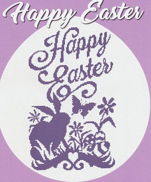 Happy Easter Silhouette - (Cross Stitch)