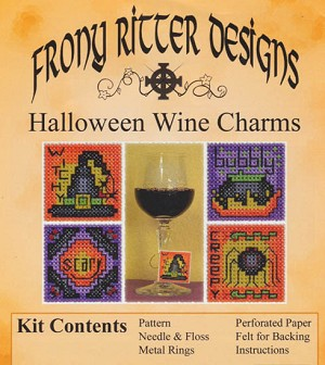 Halloween Wine Charms Kit - (Cross Stitch)