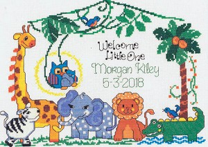 Jungle Family Birth Record - (Cross Stitch)