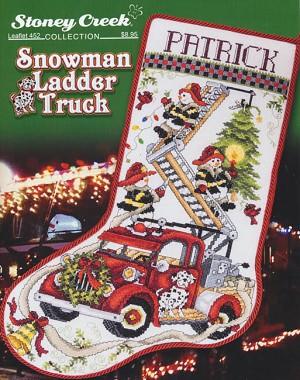 Snowman Ladder Truck Christmas Stocking By Stoney Creek